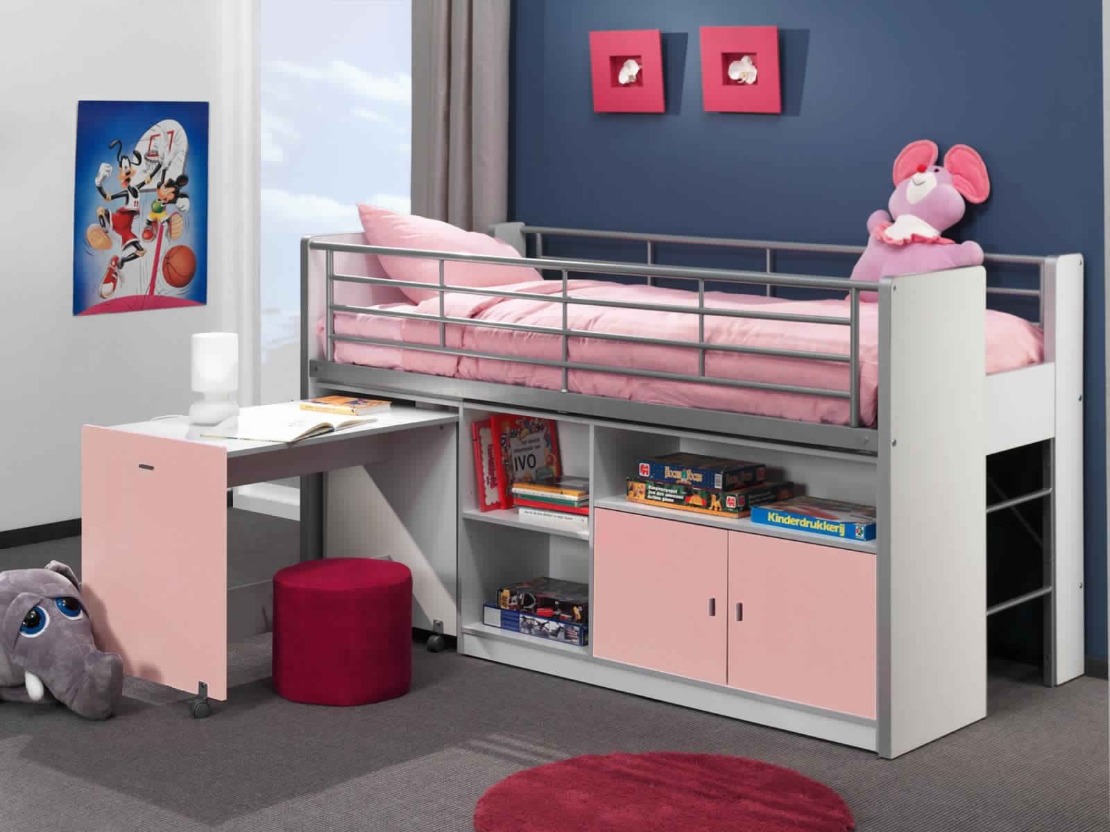 Bunk Bed with Desk in soft white and pink colors for teenagers