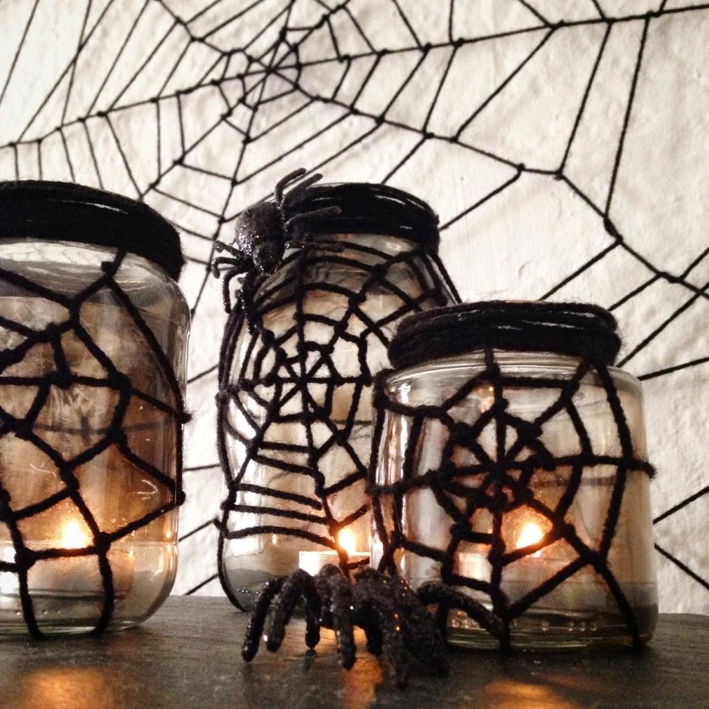 Outdoor Halloween Decorations spider web jar