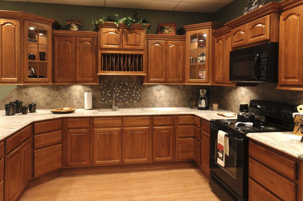 luxurious oak rustic kitchen cabinets