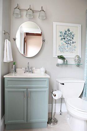 blue vanity small bathroom lighting ideas