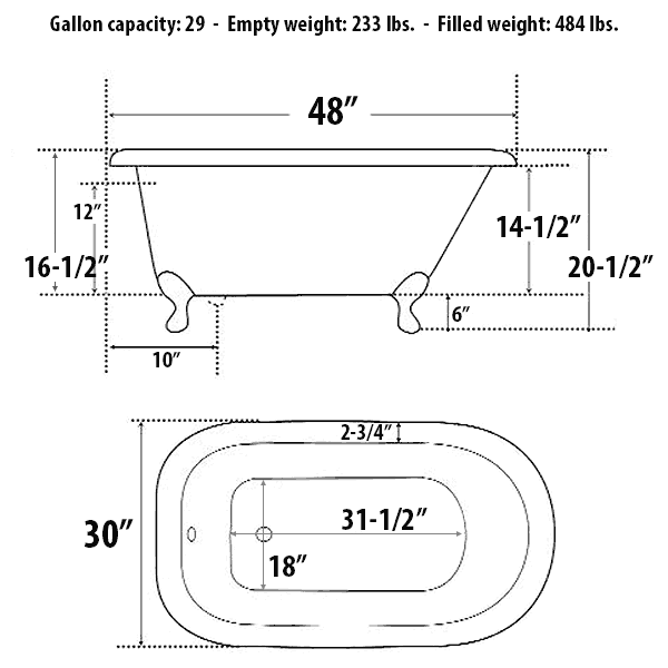 Smallest Bathtub Size-bathtub dimensions
