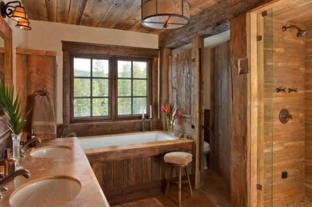 Rustic Bathroom Ideas-Floral rustic bathroom