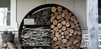 DIY Outdoor Firewood Rack-Neat place to store firewood