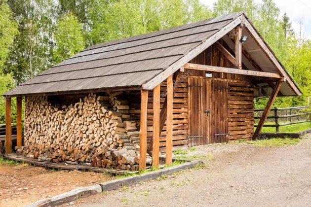 DIY Outdoor Firewood Rack Wooden storage fireplace