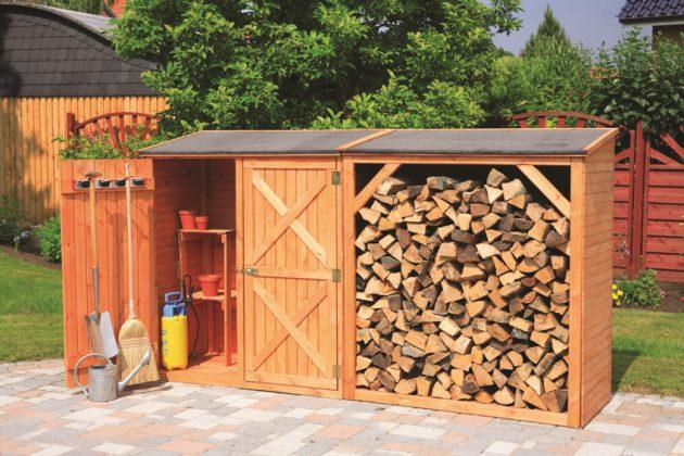 DIY Outdoor Firewood Rack-beautiful polennic of firewood