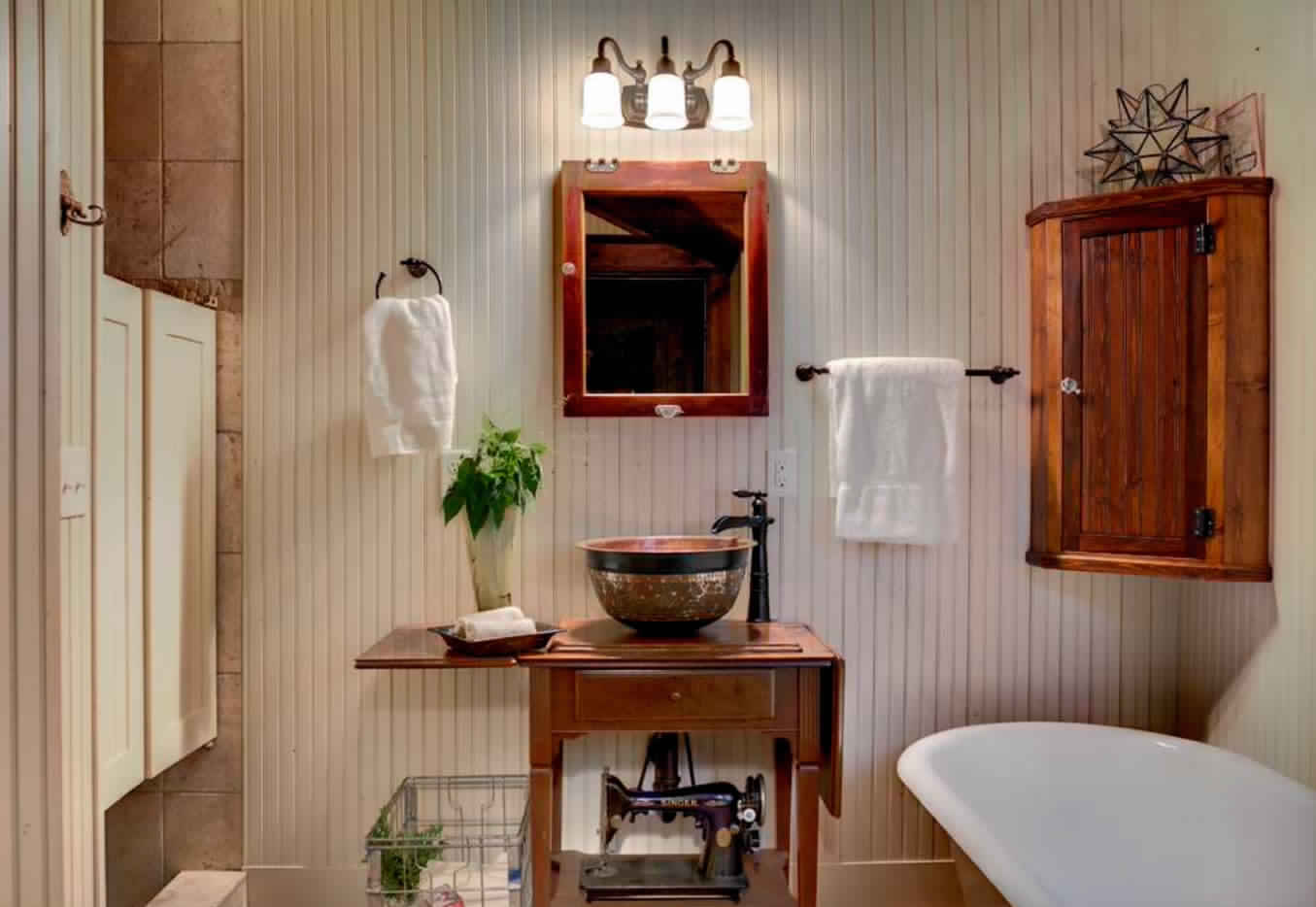 Rustic Bathroom Ideas-cabinet with mirror fronted
