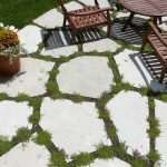 closeup-of-exploded-flagstone-patio-with-flowering-sedum