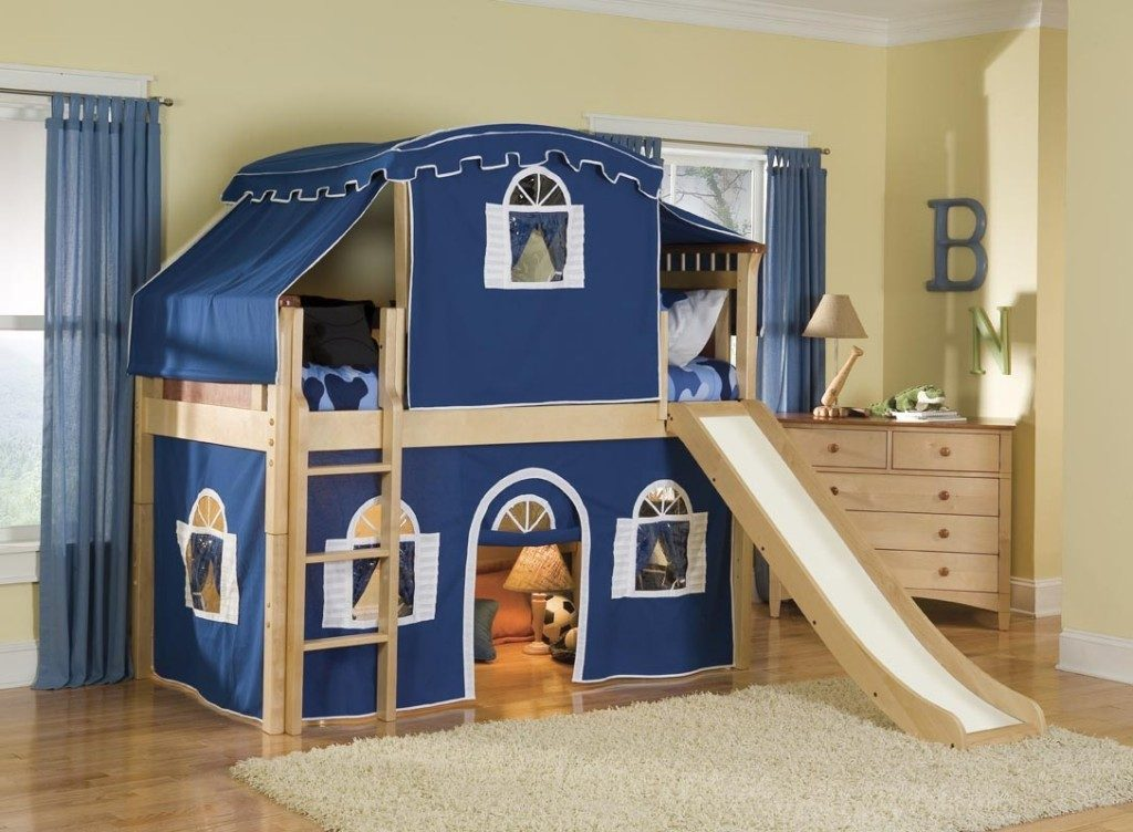 loft bed with slide for boy