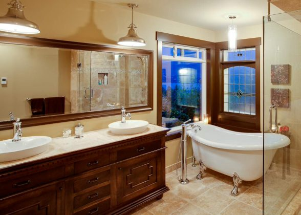 soaking-tub-with-glass-shower-panel-and-tile-flooring-for-traditional-bathroom-design-with-pendant-lighting-and-bathroom-vanity-cabinets-plus-vessel-sink-faucets-also-vanity-mirror