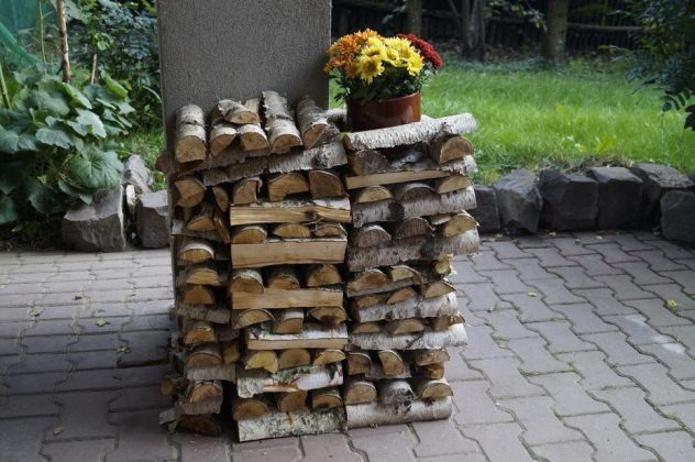 DIY Outdoor Firewood Rack-storing firewood