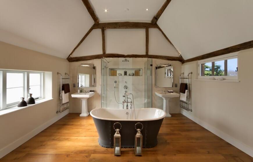 wood tile shower ideas
