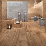 wood tile shower walls