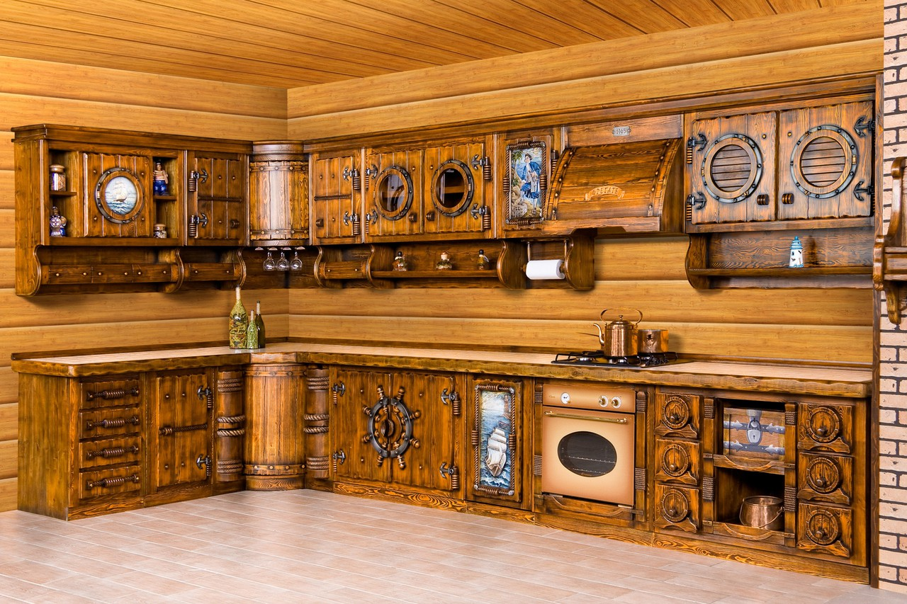 Rustic Kitchen Cabinets - Carved kitchens from wood