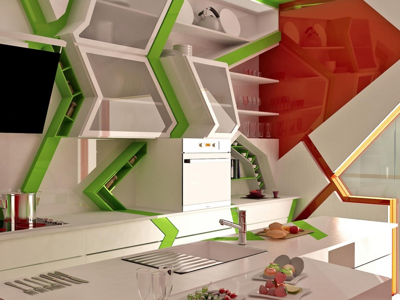 Hexagonal Wall Shelf - Cubism in kitchen