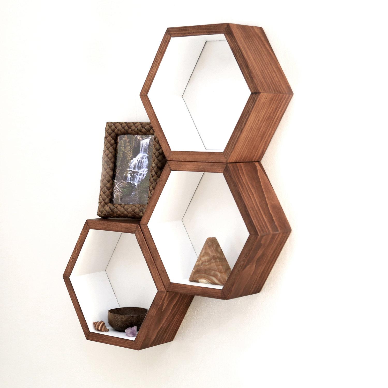 Hexagonal Wall Shelf - Decorative Cubby Wall Shelf