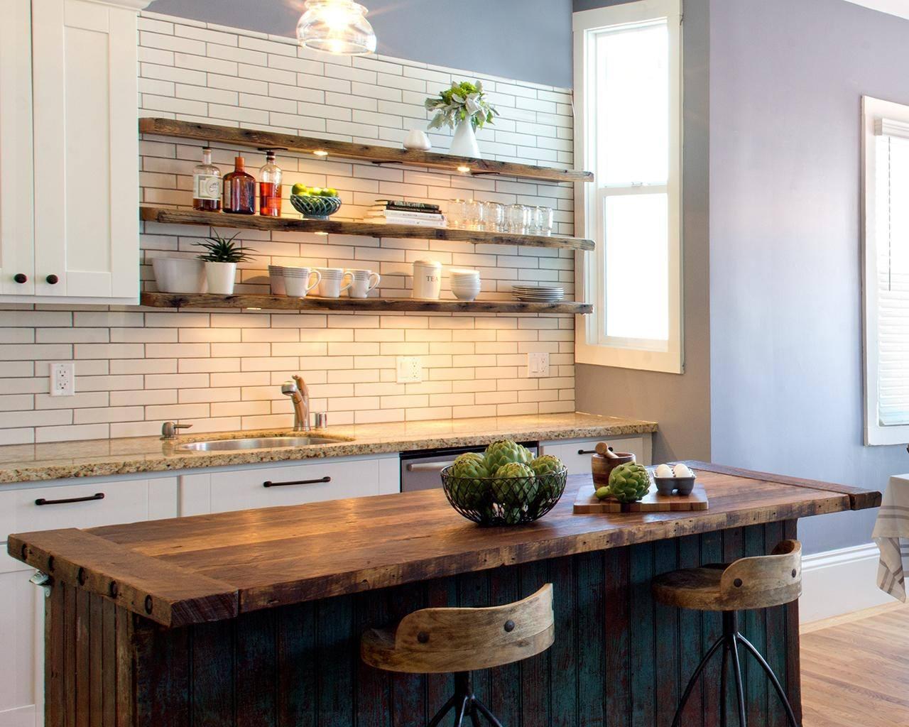 Rustic Kitchen Cabinets - Doorless kitchen