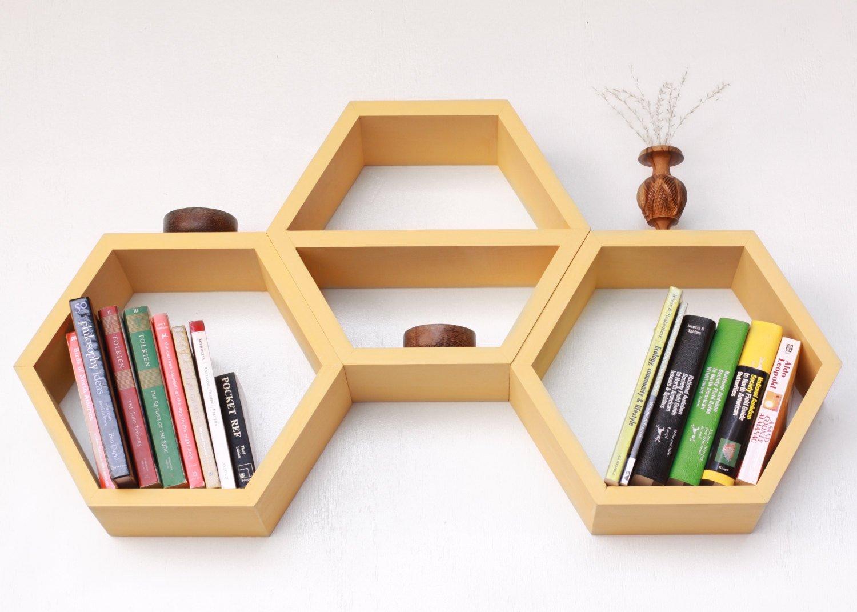 Hexagonal Wall Shelf - Fancy Geometric Wood Shelf