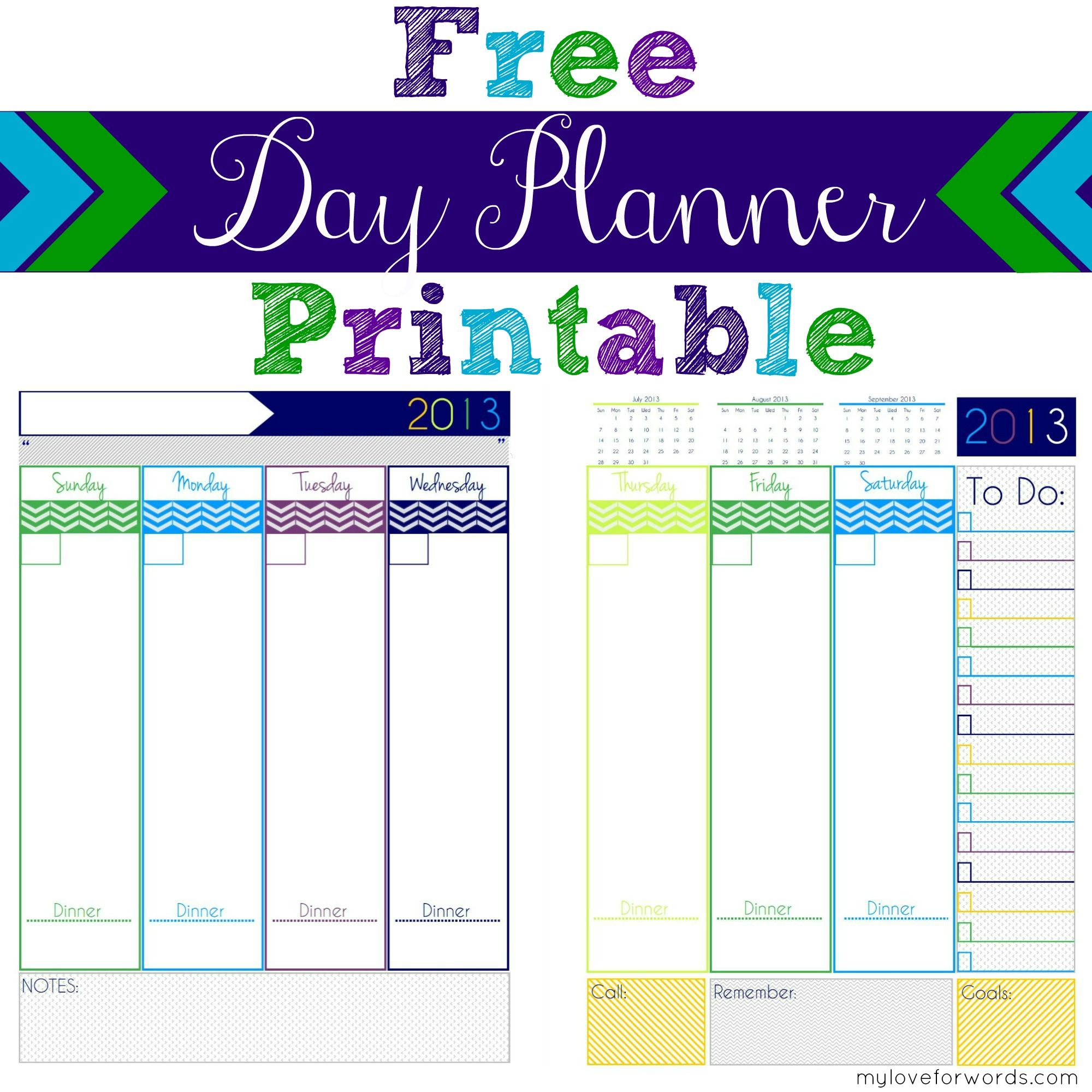 Daily Planner Printable - Free printable planner