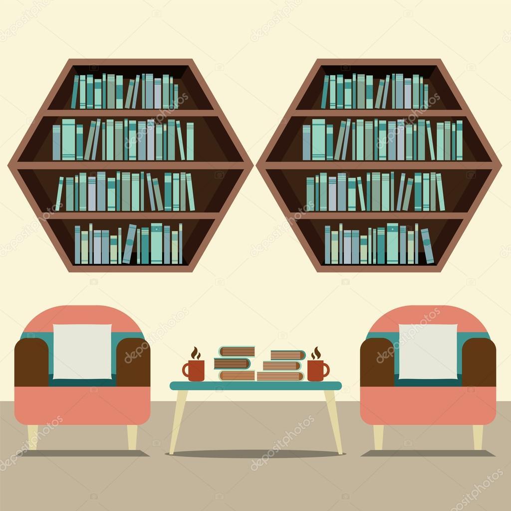 Hexagonal Wall Shelf - Hexagon book vector illustration