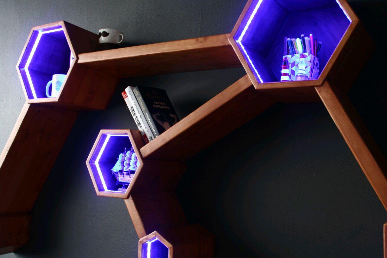 Hexagonal Wall Shelf - Lighting hexagonal shelf