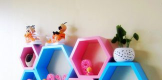 Hexagonal Wall Shelf - Nursery lovely hexagonal wall shelf
