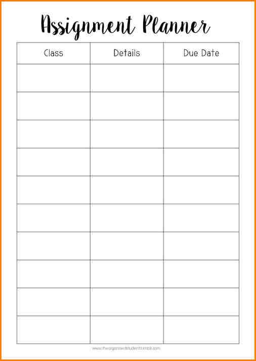 Daily Planner Printable - Printable student homework planner