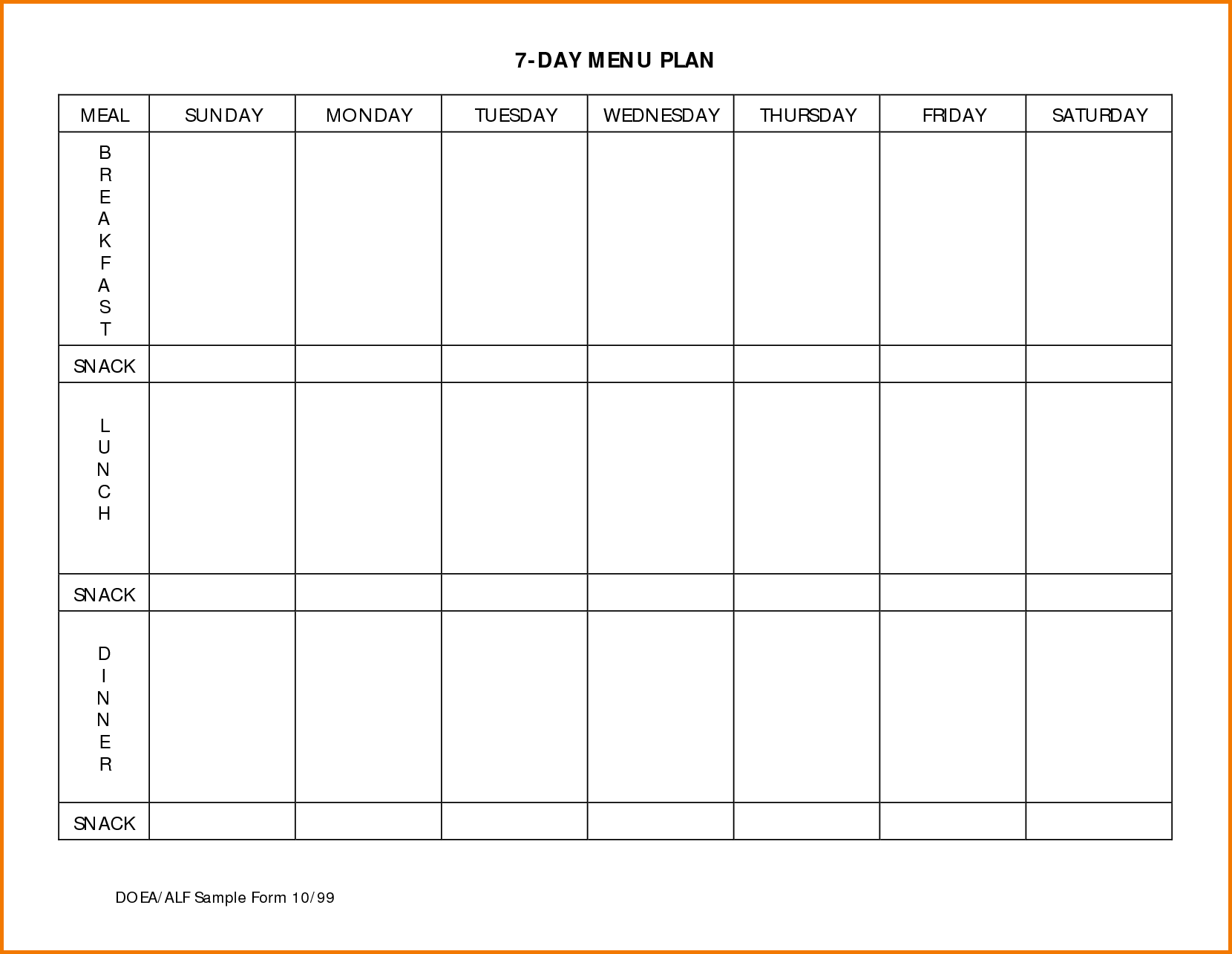 Daily Planner Printable - Retain Menu Planner