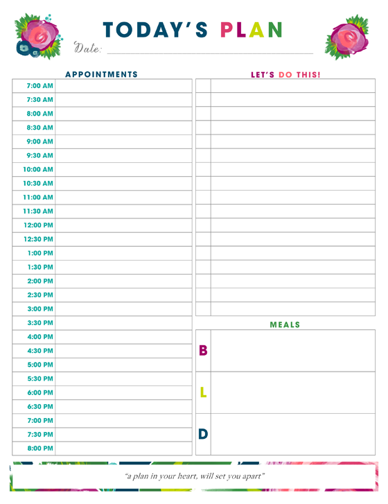 Daily Planner Printable - Time Management Daily Planner Templates