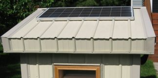 warming dog house with solar power