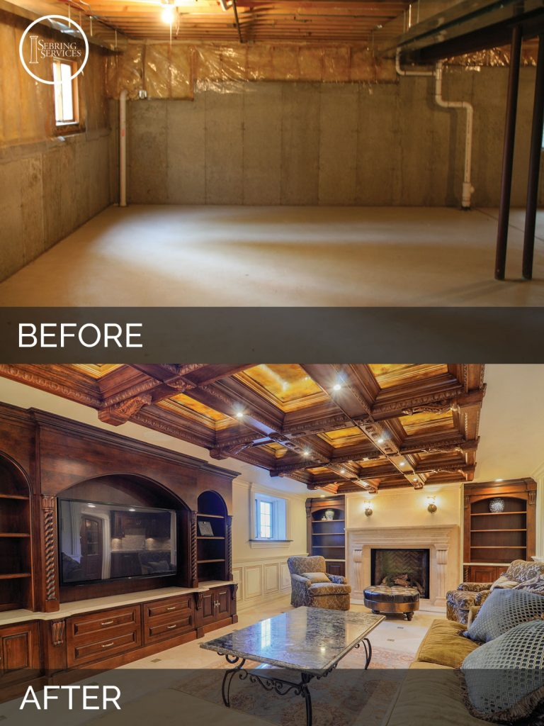 before and after finished basement ideas 16