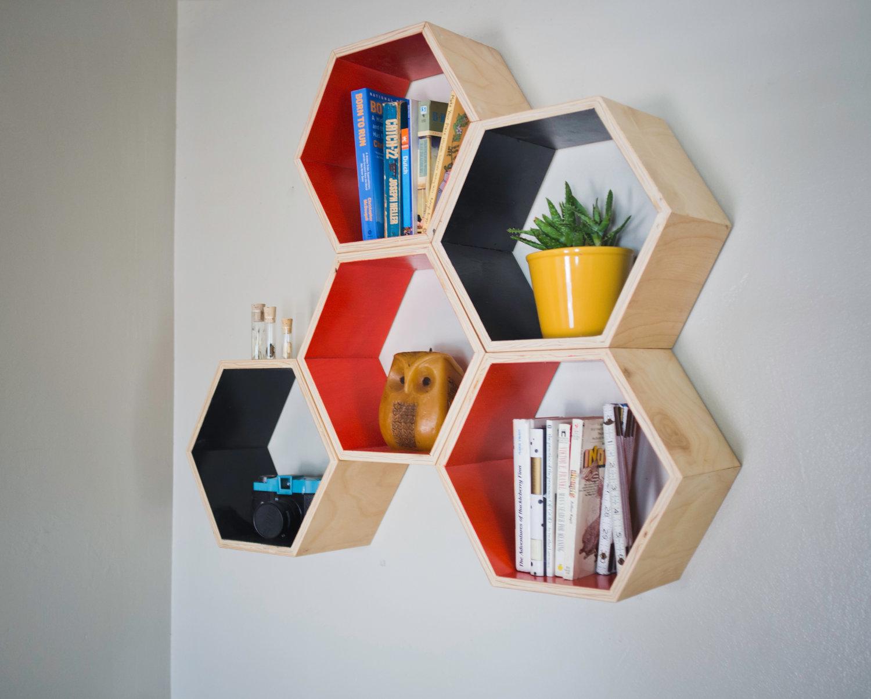 Hexagonal Wall Shelf - honeycombs shelf