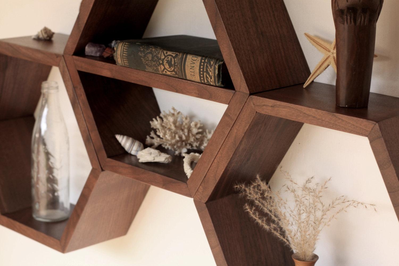 Hexagonal Wall Shelf - original wooden shelves