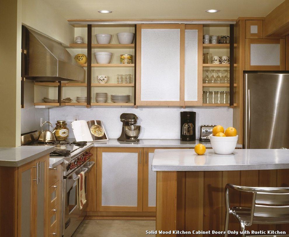 Rustic Kitchen Cabinets - rustic kitchen cabinet metal holders and wooden doors