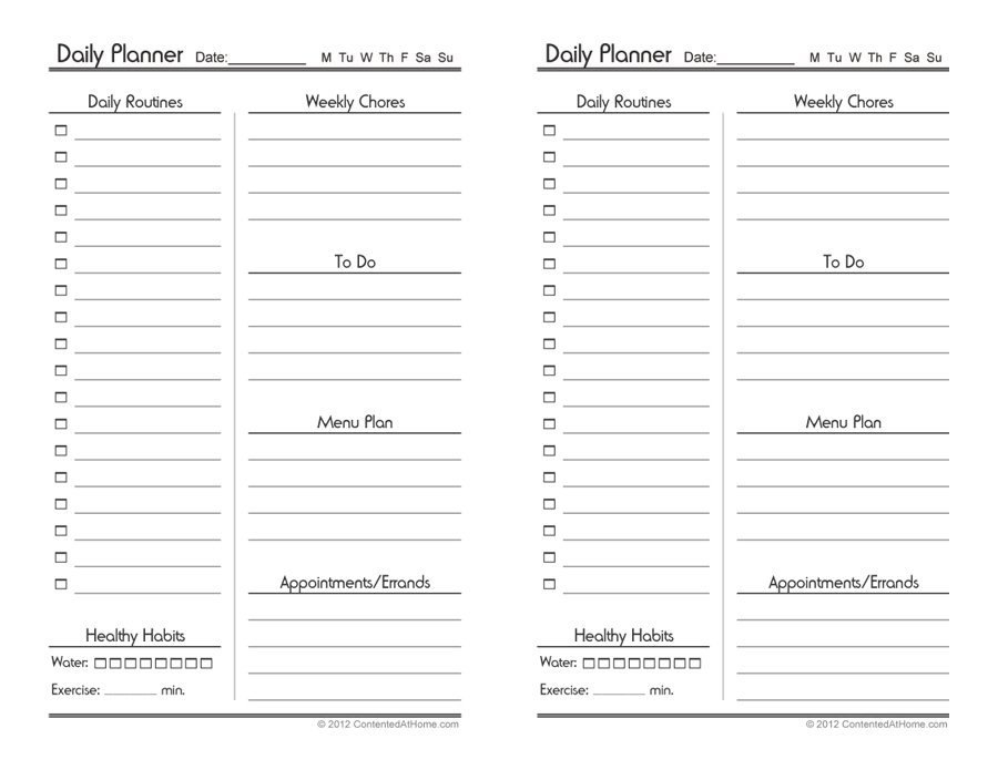 Daily Planner Printable - template lab within planner template free