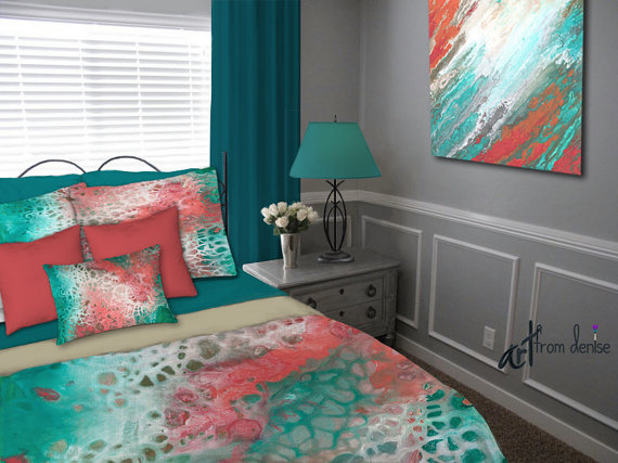Aqua and coral bedroom ideas