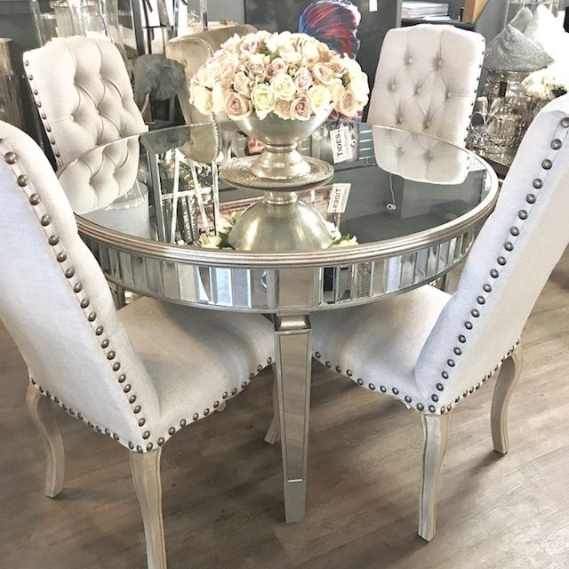 round mirrored dining room table